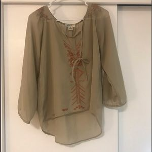 Brown with orange detail blouse (long sleeve)